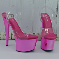 Leecabe Shinny Pink 17CM/7Inch Women's Platform Sandals party High Heels Shoes Pole Dancing Shoes