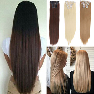 XUANGUANG High Temperature Fiber Long Straight Synthetic Hair Extensions Clips In Hairpiece 22 Inch12 Colors 16 Clips