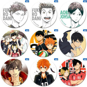 Anime High Kyuu!! Volleyball Boy Pin Cos Tsukishima Firefly Sun Xiang XCosplay Bedge Cartoon Bags Badge Button Brooch