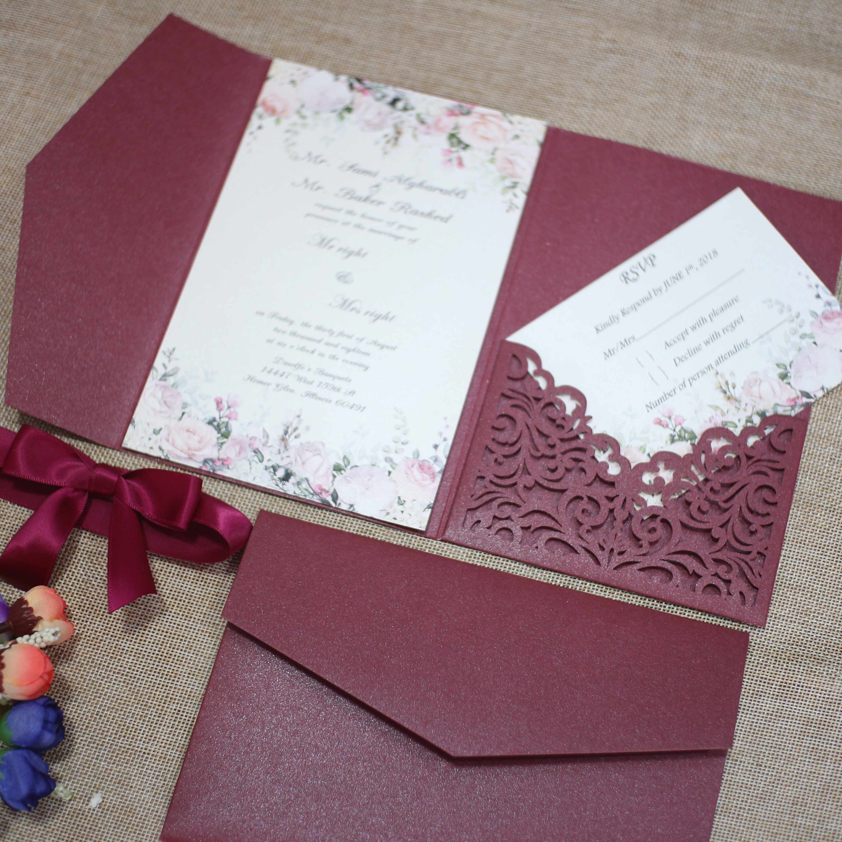 free shipping 2pcs Vine tri fold wedding invitation cards with envelope  ,insert, RSVP 3 fold laser cut pocket fold cards| | - AliExpress