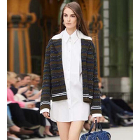 Cosmicchic 2020 Women Stripe Cashmere Cardigan Lapel Single Breasted Pocket Knitting Jacket Runway Elegant Sweater Coat Female