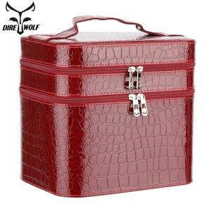 Image 1 - ผู้หญิงจระเข้กล่องเครื่องสำอางคุณภาพสูงกระเป๋าเครื่องสำอางแบบพกพาขนาดใหญ่ความจุ PU เครื่องสำอางค์กระเป๋าแต่งหน้า Dedicated