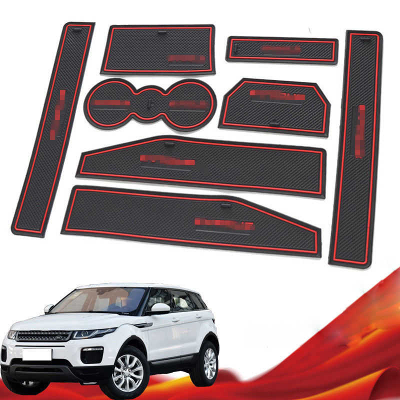 Custom Logo Rubber Car Gate Slot Mat Door Pad Cup Non-slip Mat Interior Accessories Groove Mat For Land Rover Evoque 2012-2018