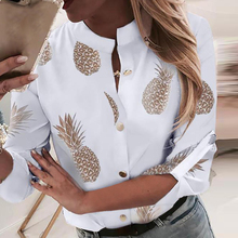 Womens Shirt 2019 Hot New Button Down Pineapple Print Long Sleeve Blouses Tops Casual Pineapple Sexy Blusas Mujer De Moda