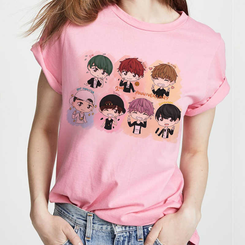 Koreaanse Stijl 2020 Kpop Bangtan Jongens T-shirt Vrouwen Roze T-shirt Vrouwelijke Ulzzang Harajuku Jin Suga J Hoop Jimin V Jungkook top S-2XL