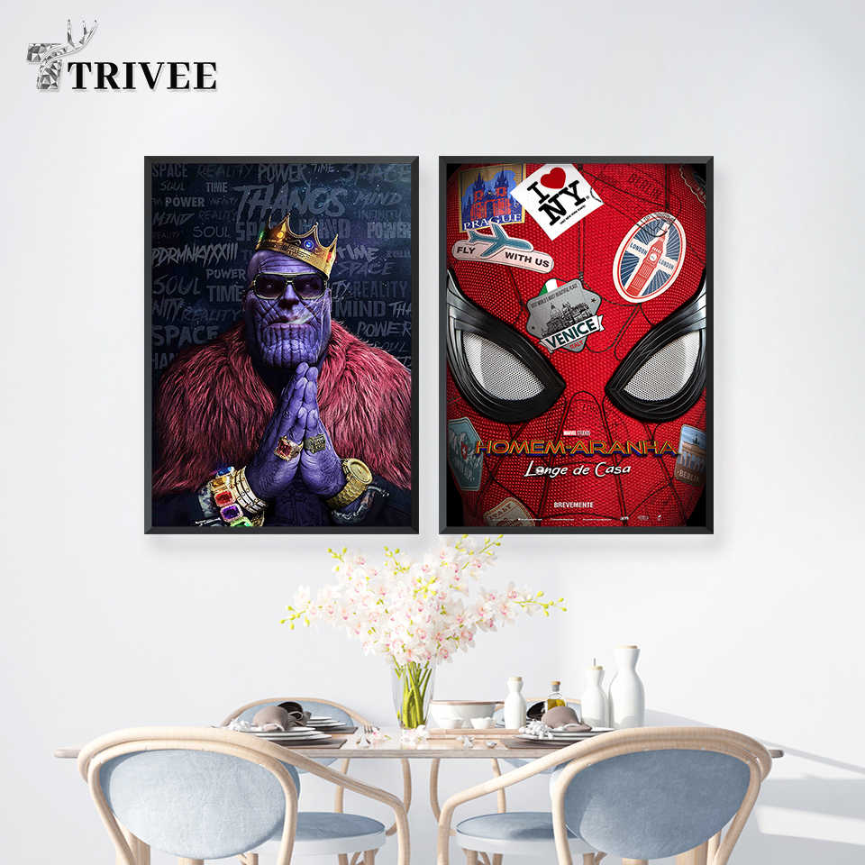 Marvel Movie Canvas Prints Wall Decor Art Avengers Painting Poster Spider-Man HIPHOP Thanos Home Decor For Living Room