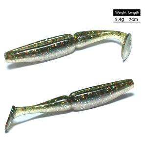 Image 1 - 10 pçs iscas de pesca isco macio 7cm 3.4g pesca leurre souple carpa pesca do mar para corrico crankbait gabarito worm ganchos isca