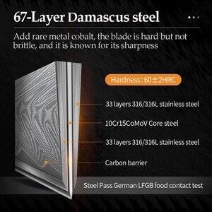 Image 3 - XINZUO 7 الساطور سكين 67 طبقات دمشق الصلب سكاكين المطبخ وصول جديد تقطيع سكين مع نوعية جيدة ارتفع الخشب مقبض