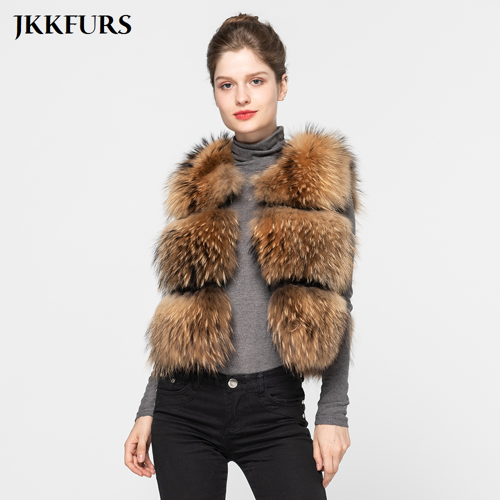 JKKFURS 2019 Chaleco de piel de mapache Real de estilo de moda de invierno grueso abrigo de moda nuevo 3 filas S1150B-in piel real from Ropa de mujer    1