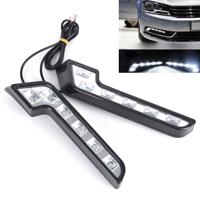 2 шт. 6 светодиодных автомобильных фар для вождения, универсальный противотуманный фонарь в форме L, 12 В, DRL, дневной ходовой светильник, компл...