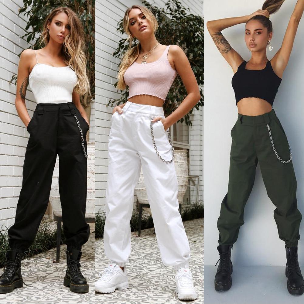 4 Colors Cargo Long Pants Women Sweatwear Sweatpants Harajuku Hip Hop High Waist Trousers Pantalon Femme