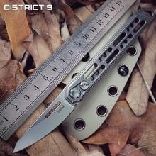 District 9 Edc Titanium Legering Mes Outdoor Draagbare Rechte Mes Unboxing Zelfverdediging Gereedschap