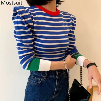 Korean Striped Color-blocked Knitted Sweaters Pullovers 2020 Autumn Winter Long Sleeve O-neck Tops Casual Fashion Ladies Jumpers 1
