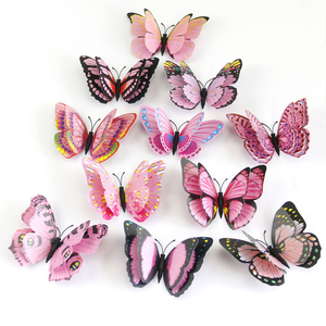 12pcs/set Multicolor Double Layer Wings 3D Butterflies Wall Stickers Room Wall Decor PVC Butterflies Magnet Fridge Stickers(China)