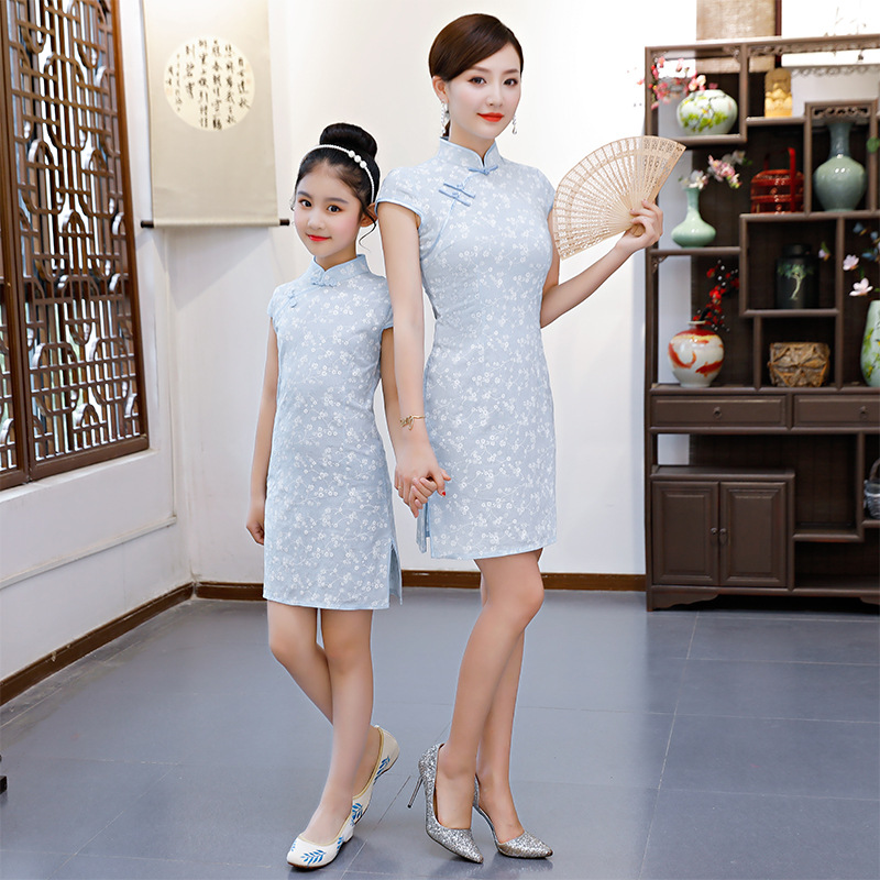 New Style Children Cheongsam Summer Chinese-style Parent-child Matching Outfit Retro Cotton Linen Frog Slim Dress Parent And Chi