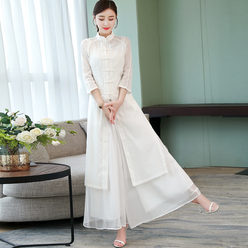 2019 Ao Dai Set Asian Clothes Folk Style Wide Leg Pants Suit Vietnam Chiffon Aodai Graceful Stand Collar Long Cheongsam