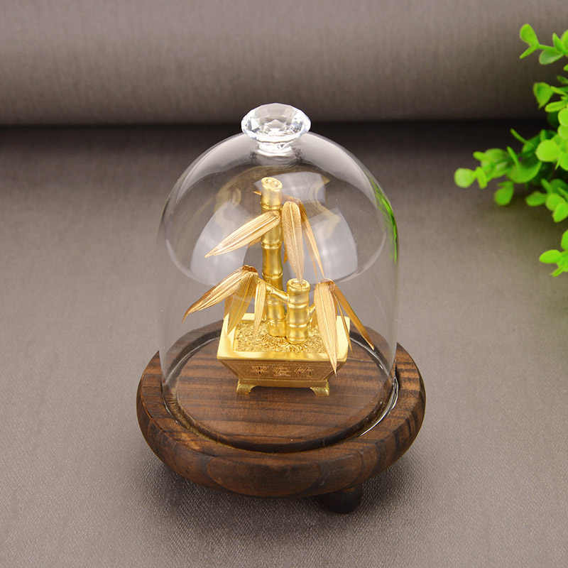 Feng Shui Fortuna albero di natale In Oro Foglio di Albero di Denaro Bonsai Ufficio Tavolo Fortunato Ricchezza Ornamenti Regali di Decorazione Della Casa con contenitore di Regali