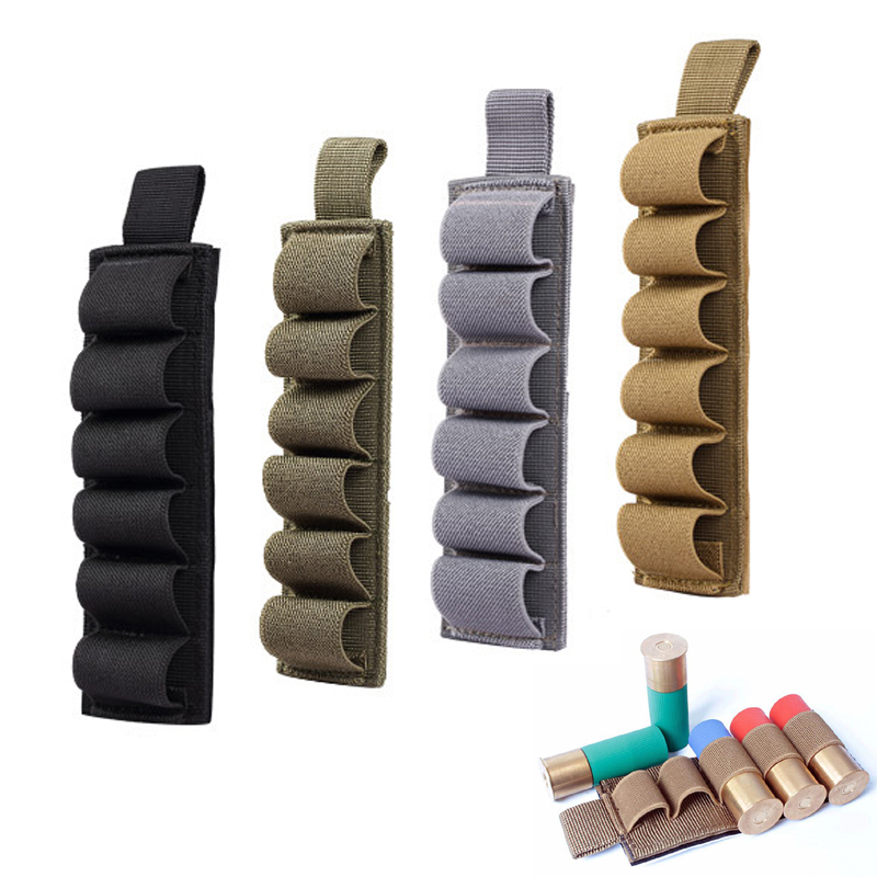 6 Pouches Tactical Shotgun Shell Holder 12GA Ammo 800D Nylon Carrier Shotshell Pouch Hunting Accessories image