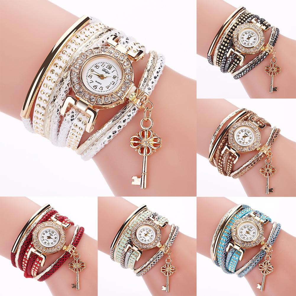 New Fashion Jewelry Gift Bracelet Key Pendant Multi-Layer Rivets Band Arabic Numerals Bangle Quartz Wrist Bracelet Watch Women L