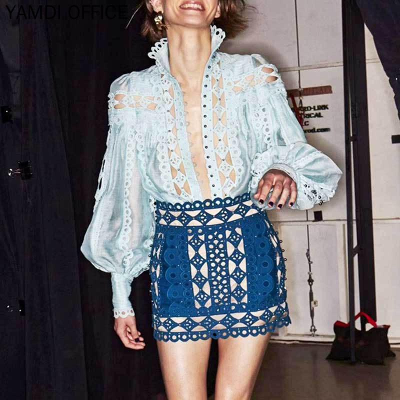 YAMDI automne blouse femmes évider mode bohème manches longues lâche sexy élégant vintage hauts chic bohème blouses 2019 blusas