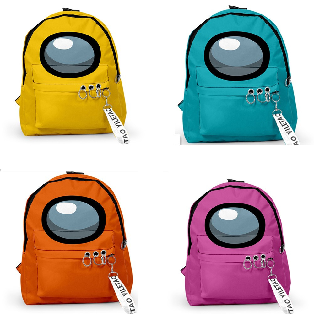 Among Us Backpacks Small Bags Unisex Candy Colors 3D Oxford Waterproof Key Chain Accessories Cute Kawaii Boys Girls School Bags