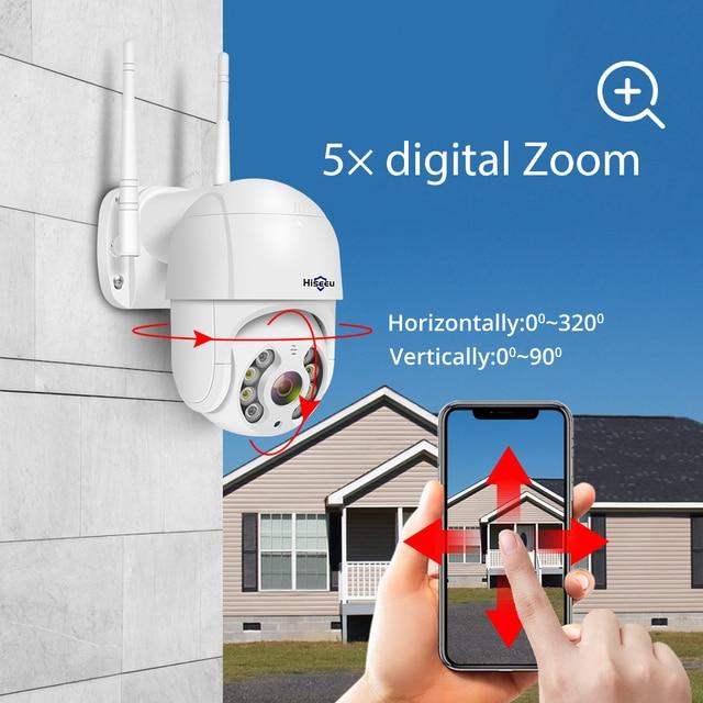 Hiseeu 3MP WIFI IP Camera Outdoor HD Full Color Night Vision PTZ Waterproof Security Speed Camera AI Human Detection ICSee 5