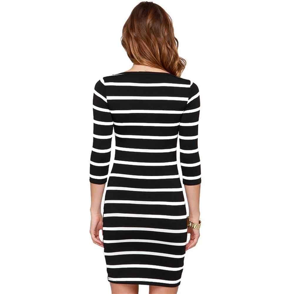 Gratis Verzending vrouwen Lange Mouwen Zwart Wit Gestreepte Crew Neck Bodycon Sexy Slanke Jurken voor Herfst S-XL Size