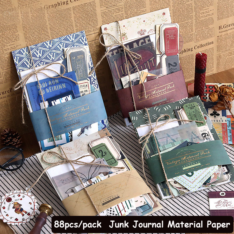 SKYSONIC 88pcs/Pack Retro Material Paper Junk Journal Planner Scrapbooking Vintage Decorative DIY Cr