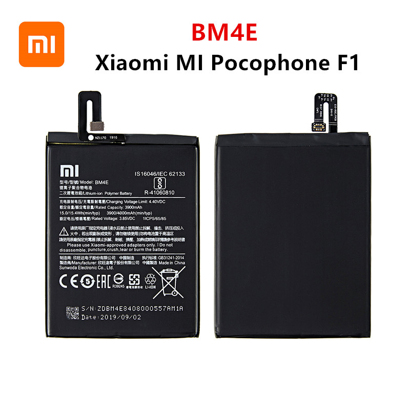 Xiao Mi 100% Orginal BM4E 4000mAh Battery For Xiaomi MI Pocophone F1  BM4E High Quality Phone Replacement Batteries