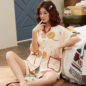 Image 2 - BZEL Fashion Womens Sleepwear Set 100% Cotton Underwear Cute Ladies Pajamas Short Sleeve Shorts Nightwear Home Cloth For Female