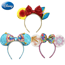 Disney Parks Beauty And Beast Aladdin Magic Carpet Mickey Mouse Ears Girls Women Hairband Party Hair-Bands Plush Toy Head Hoop
