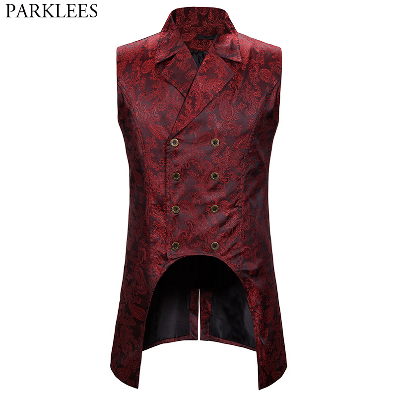 Wine Red Paisley Jacquard Long Vest Men Double Breasted Lapel Brocade Vest Waistcoat Mens Gothic Steampunk Sleeveless Tailcoat