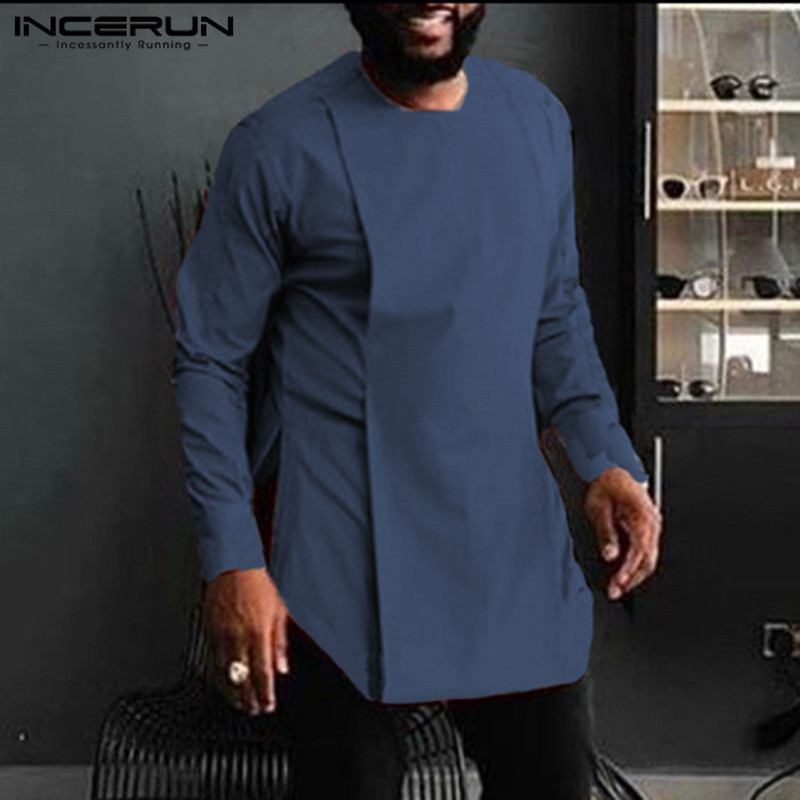 INCERUN African Clothing Dashiki Men Shirt Solid Color O Neck Long Sleeve Vintage Casual African Irregular Shirts Men 2019 S-5XL