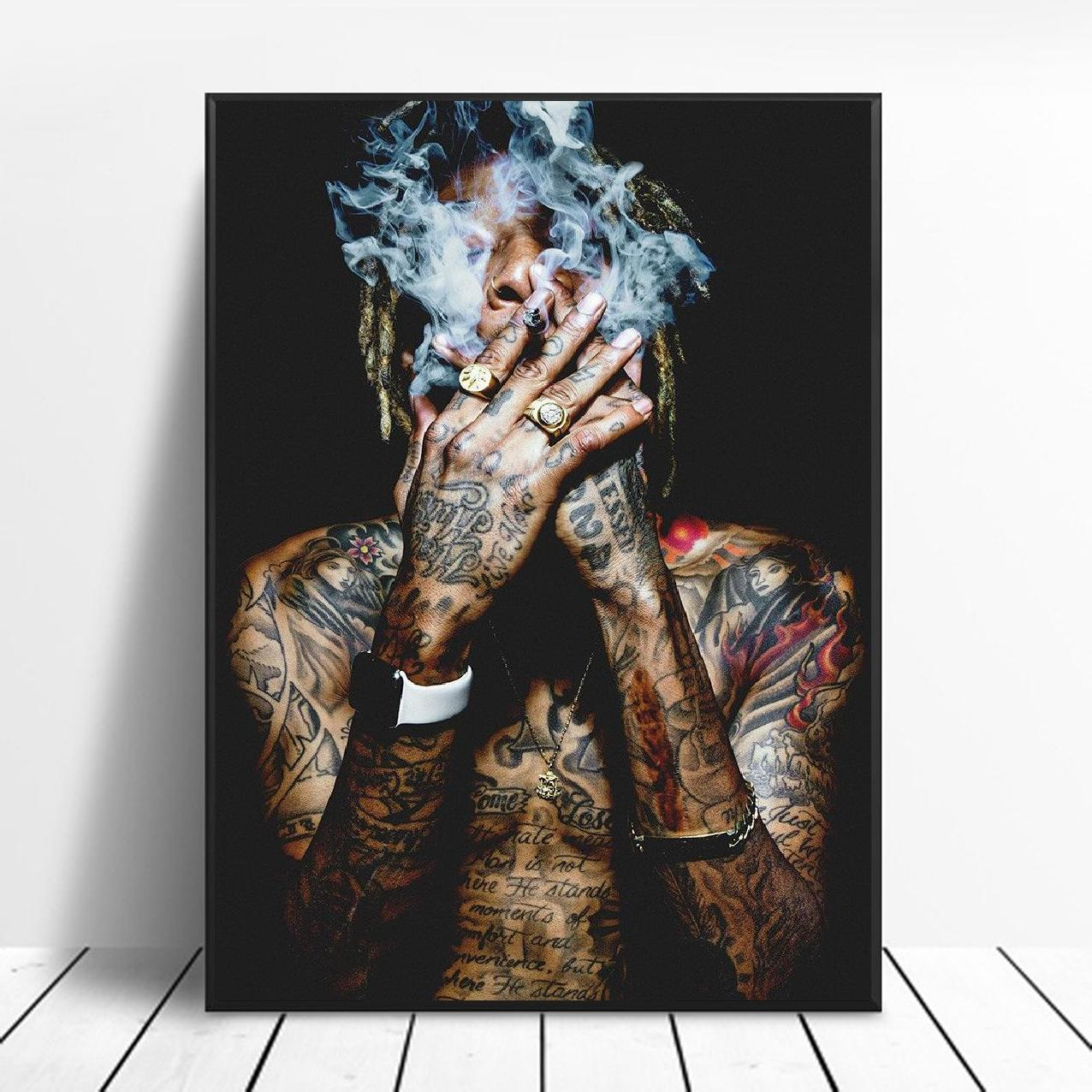 Wiz Khalifa Rap Music Hip-Hop Art Fabric Poster Print Wall Pictures For Living Room Decor Canvas Painting Posters And Prints