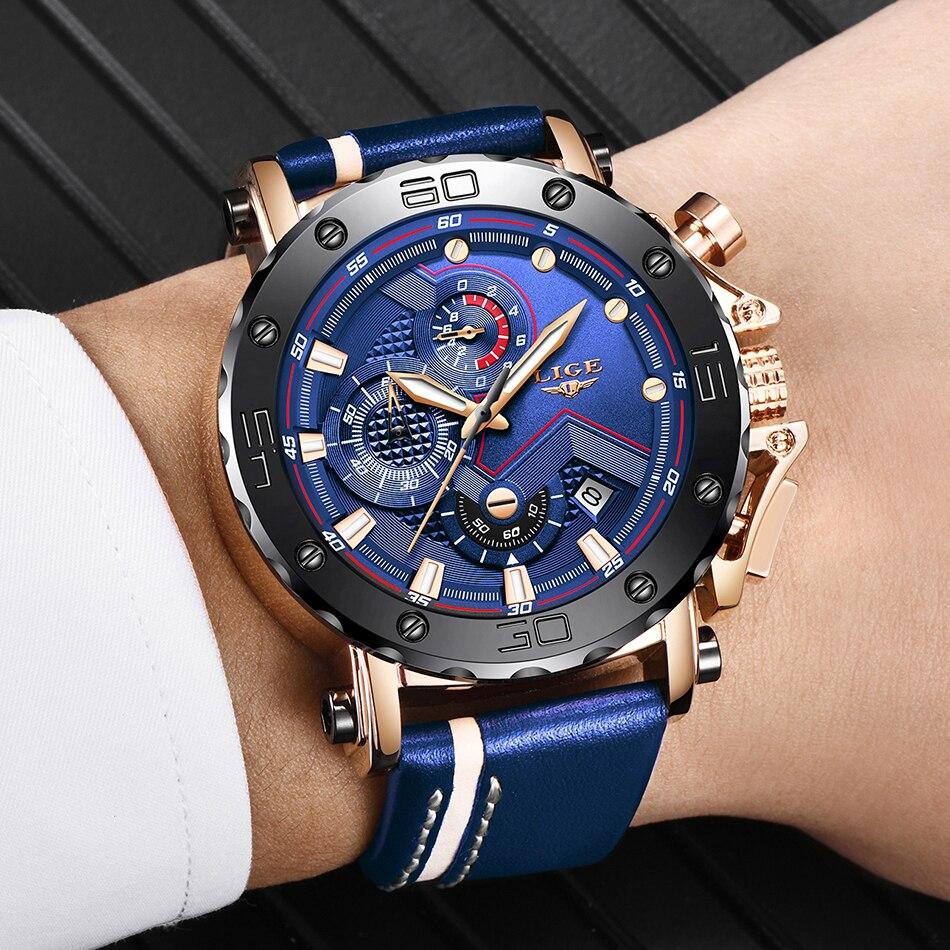 Hf41b2b5cd3694812afb91f8ddd43583e4 Relogio Masculino New LIGE Sport Chronograph Mens Watches Top Brand Casual Leather Waterproof Date Quartz Watch Man Clock