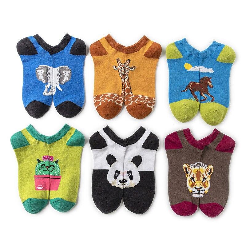 Mulheres meias de frutas macias dos desenhos animados das senhoras panda impressão meias colorido mulher barco casual algodão sox meninas primavera na moda skarpetki