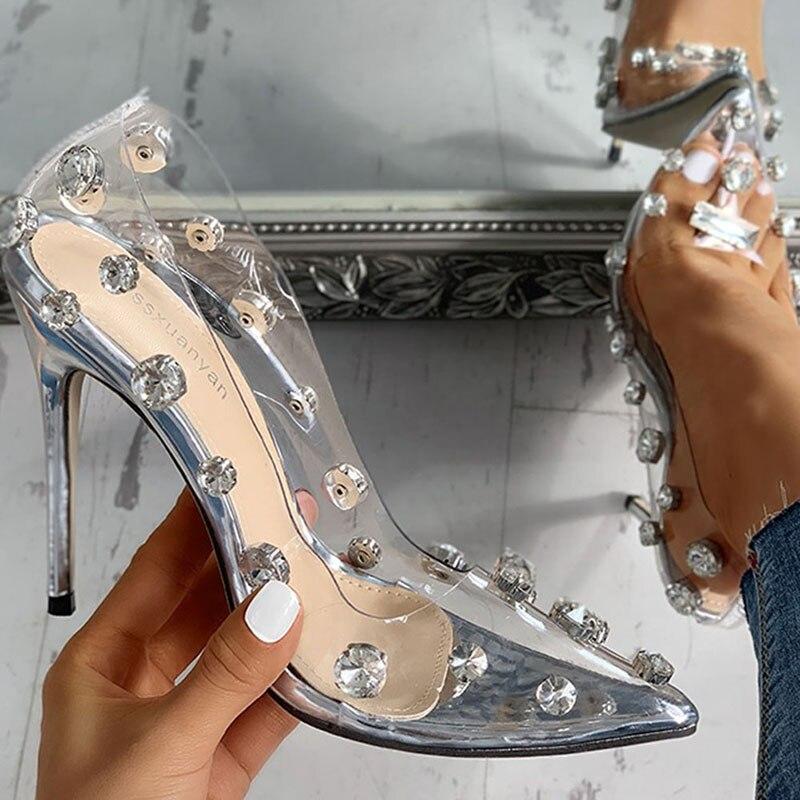 Women Sexy Sandals Transparent High Heels Summer Pumps Women
