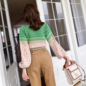 Image 4 - Women Jacquard Knit Cropped Sweater 2019 Autumn Latern Sleeve Lurex Color Block Pullover Fresh Crop Jumper Sueter Mujer Invierno