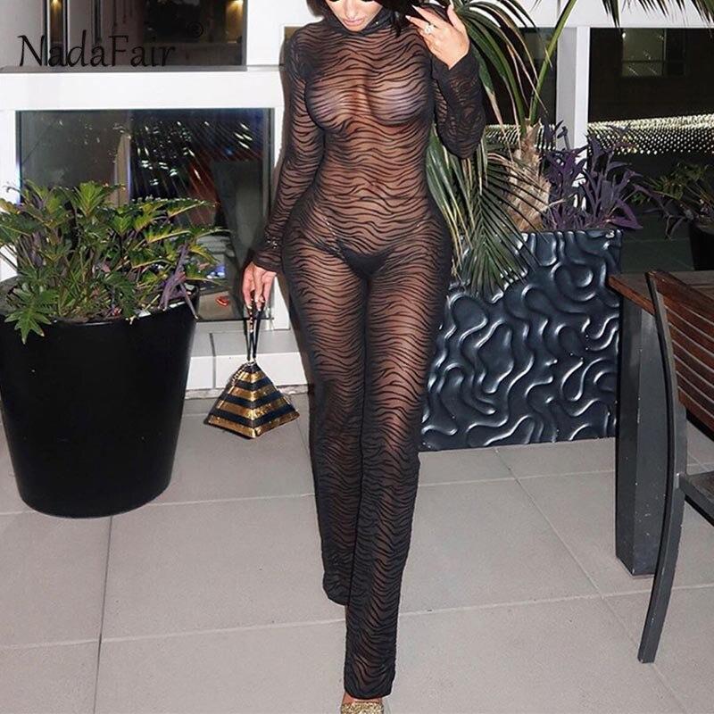 Nadafair See Through Animal Print Jumpsuit Women Backless Mesh Sexy Jumpsuit Skinny Overall Long Romper Turtleneck Clubwear
