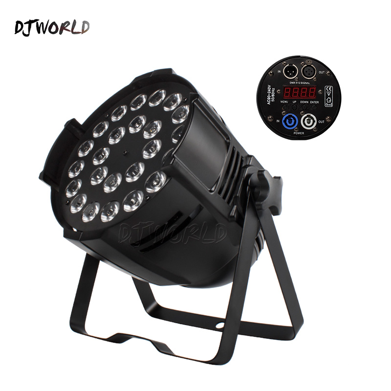 Djworld(Big) Aluminum Alloy LED Par 24x18W RGBWA+UV 6in1 Lighting DMX 512 Powercon Plug Dj Disco Party TV Ballroom Show Wedding