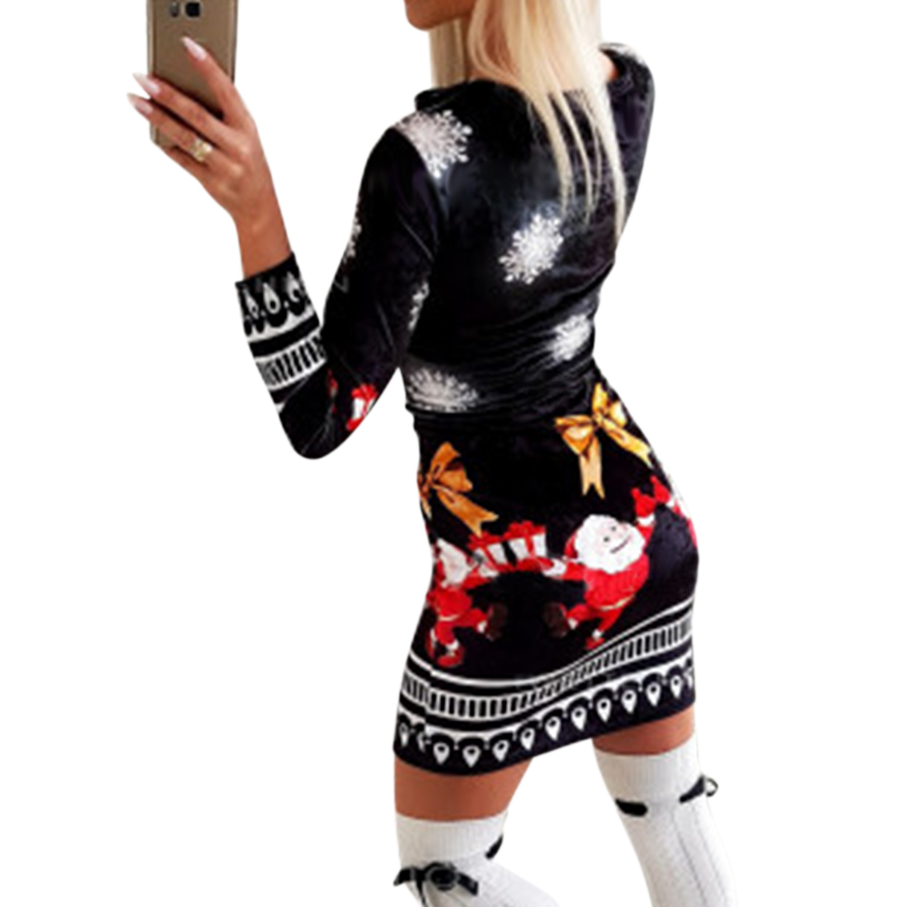 GVN Rocks Women Knitted Long Sleeve Christmas Bodycon