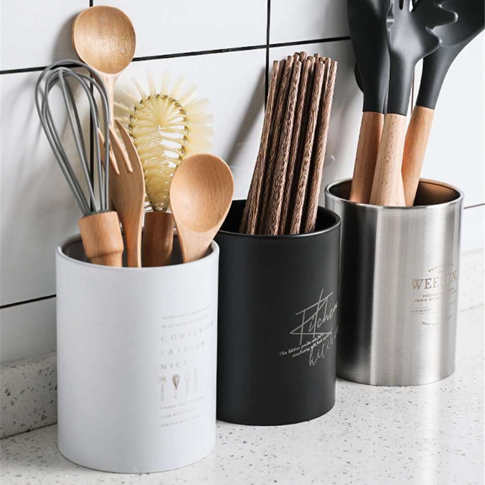 Stainless Steel Chopsticks Jar Scandinavian Kitchen Tableware Drain Jar Simple Cooking Tool Organizer Can Table Utensils Storage
