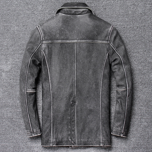 Image 4 - YR!Free shipping.classic gray long casual leather jacket,mens vintage slim genuine leather coat.plus size,cowhide overcoat