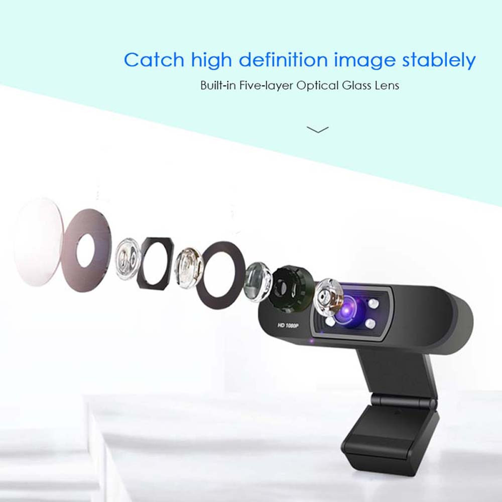 1080P USB Webcam in Clip-on Design with Built-in Noise Isolating Microphone 4