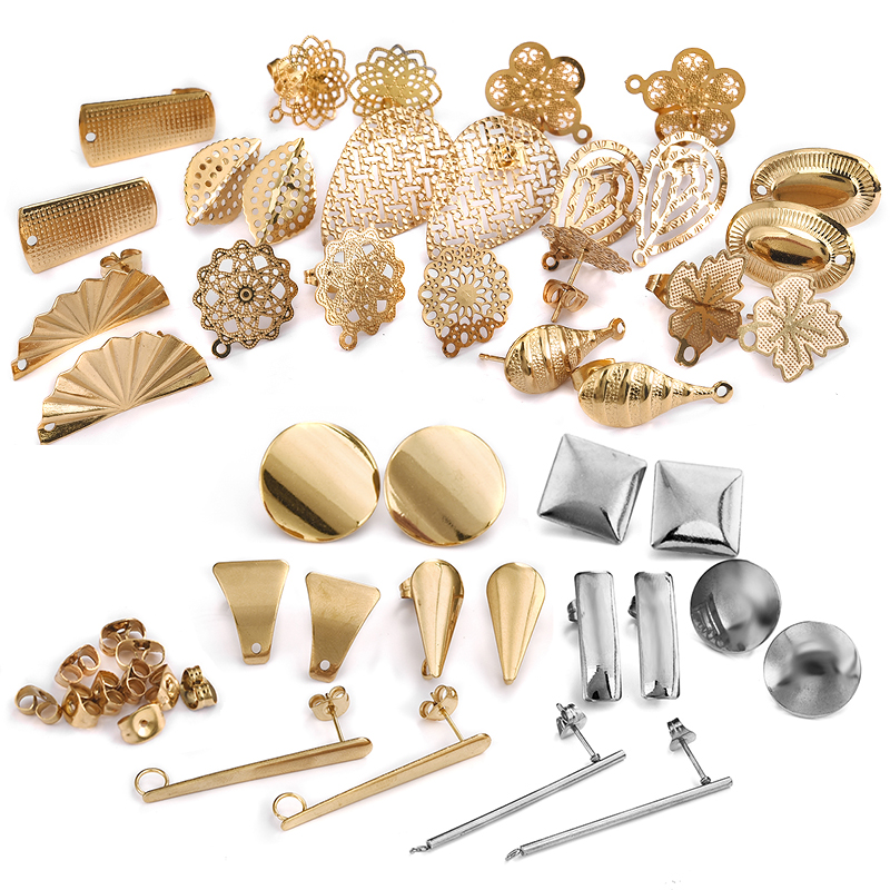 10pcs Stainless Steel Geometric Round Earring Stud Golden Hollow Flowers Earrings Base Connectors Linker Diy Making Accessories