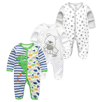 0-12Months Baby Rompers Newborn Girls&Boys 100%Cotton Clothes of Long Sheeve 1/2/3Piece Infant Clothing Pajamas Overalls Cheap - Baby Rompers RFL3119, 6M