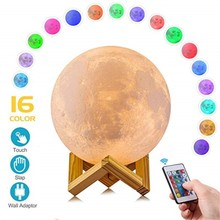 2 16 Colors 3D Night Light with Remote Rechargeable Moon Lamp Touch Control Moon Lights Night