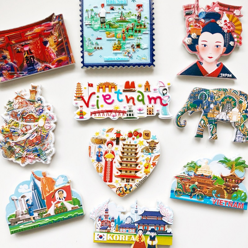 BABELEMI New Vietnam Korea Thailand India Japan North Korea Fridge Magnets Tourist Souvenir 3D Resin Refrigerator Magnet Gifts image