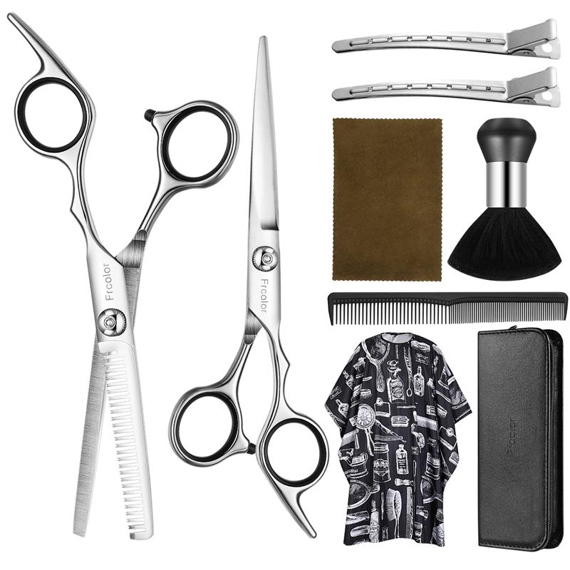 9pcs Hair Scissors Set Thinning Scissors Salon Professional Barber Hair Cutting Hairdresser's Shears Hairdressing Styling Tools