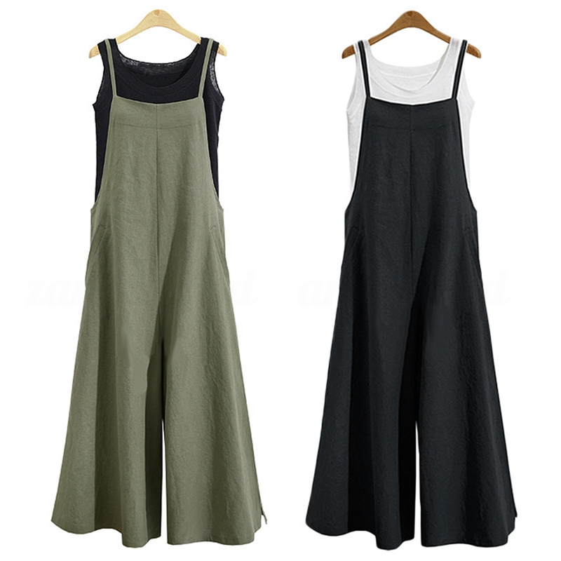 2Pcs Women Casual Solid Spaghetti Straps Wide Leg Pants Pockets Loose Bib Cotton Linen Jumpsuits,M Black & Green